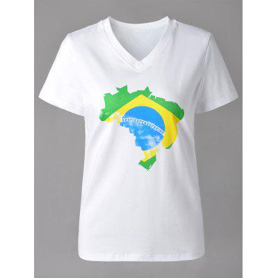 Casual V-Neck Map Print Short Sleeve T-Shirt For Women
