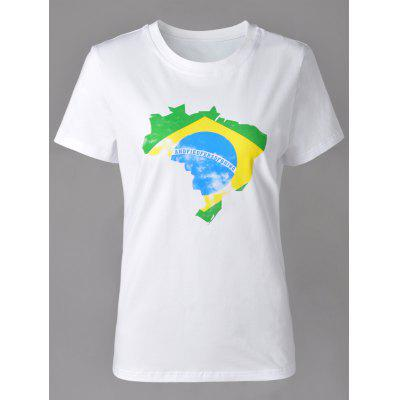 Casual Round Neck Map Print Short Sleeve T-Shirt For Women