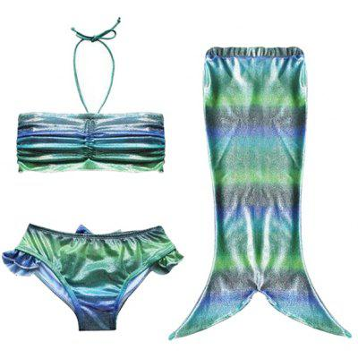 Cute Mermaid Design Colorful Print Halter Bra + Briefs + Cover Up Girl's Swimsuit