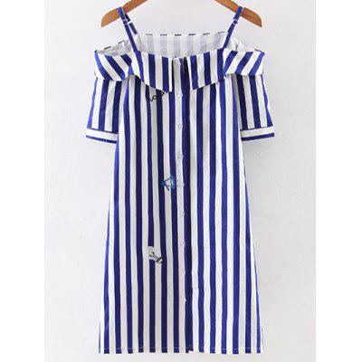 Sweet Off Shoulder Striped Women's Dress