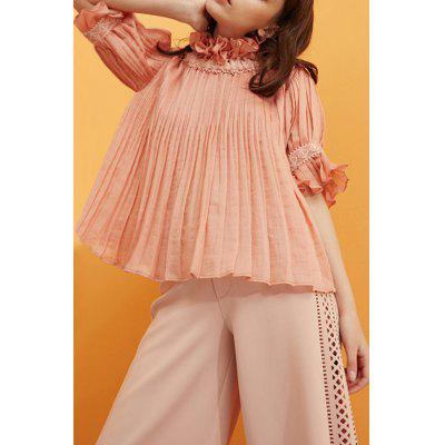 Convertible Ruffles Solid Color Pleated T-Shirt
