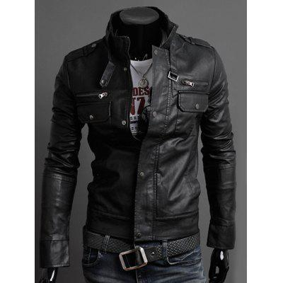 Stand Collar PU-Leather Belt Embellished Epaulet Long Sleeve Jacket For Men