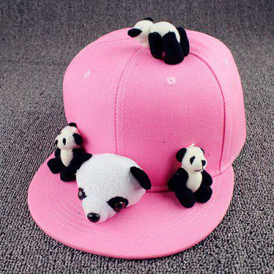 Chic Cartoon Pandas Shape Toy Embellished Pink Baseball Cap For Women