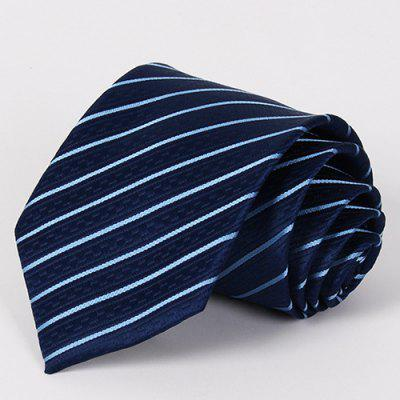 Stylish Slender Twill Jacquard Navy Blue Tie For Men