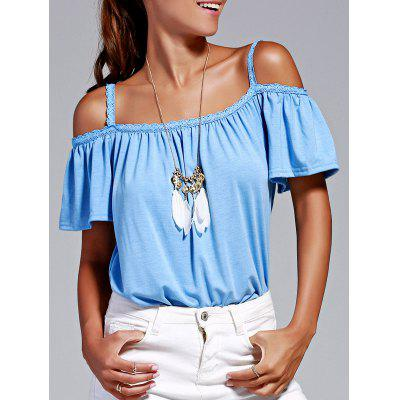 Stylish Cold Shoulder Lace Trimming T-Shirt For Women