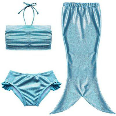 Cute Mermaid Design Solid Color Halter Bra + Briefs + Cover Up Girl's Swimsuit