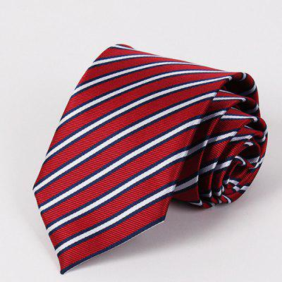 Stylish Bicolor Twill Jacquard Red Tie For Men