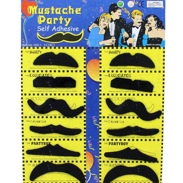 BLACK 12PCS Halloween Self-Adhesive Mustache Cosplay Prop For Fancy Ball Party Show
