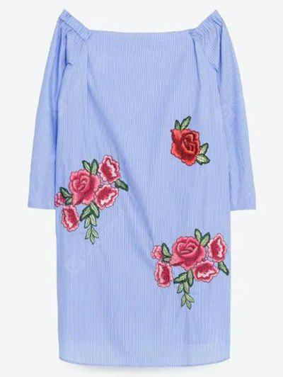 Stylish Off The Shoulder Long Sleeve Floral Embroidery Women's Dress