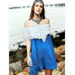 Sweet Embroidered Ruffle Women's Denim Dress - BLUE AND WHITE