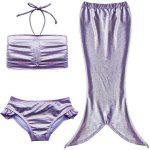 Cute Mermaid Design Solid Color Halter Bra + Briefs + Cover Up Girl's Swimsuit - POURPRE