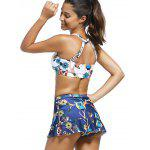 High Neck Animal Print Crop Top with Skirt + Briefs Swimsuit - WHITE