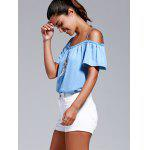 Buy Stylish Cold Shoulder Lace Trimming T-Shirt Women S ICE BLUE