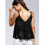 Charming Spaghetti Strap Cut Out Lace Spliced Women's Tank Top - BLACK