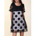 Mesh Panel Polka Dot Short Sleeve Dress - BLACK