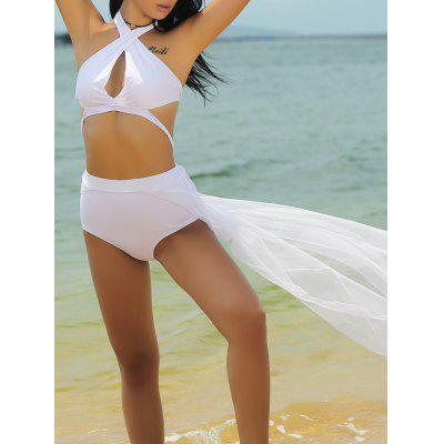 Stylish Halter Neck Hollow Out Spliced Women's Swimwear