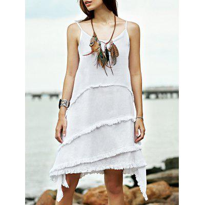 Stylish Cami Sleeveless Fringe Irregular Hem Women's Dress