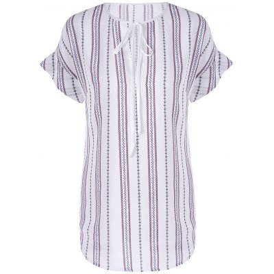 Fashionable Round Neck Short Sleeve Striped Blouse