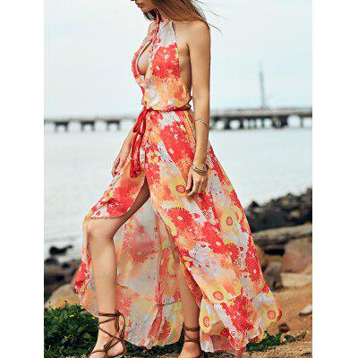 Stylish Stand Neck Sleeveless Printed Open Back Women's Dress