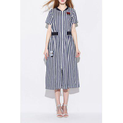 V Neck Zipper Design Striped Slit Dress