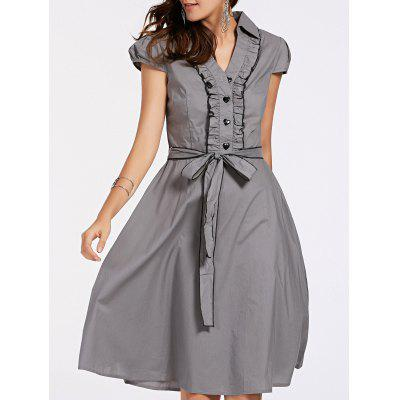 Stylish Short Sleeve V-Neck Ruffled Belt-Tie Women's Dress