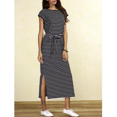 Charming Striped Cap Sleeve Waist Tied Slit Maxi Dress For Women