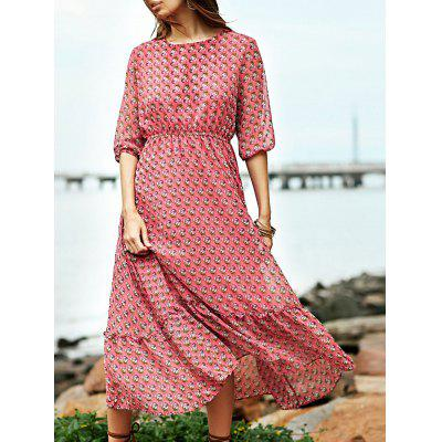 Fashion Round Neck High Waisted Print Dress For Women
