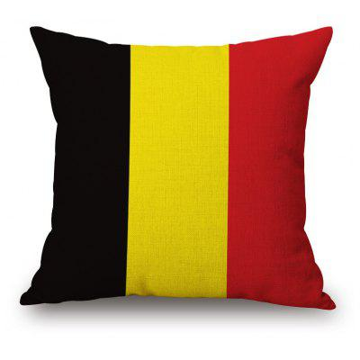 Belgian Flag Pattern Square Shape Flax Cushion Cover