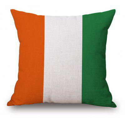 Irish Flag Pattern Square Shape Flax Cushion Cover