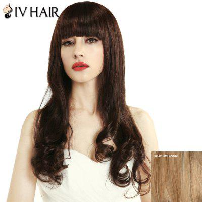 Charming Women's Neat Bang Siv Hair Long Human Hair Wig