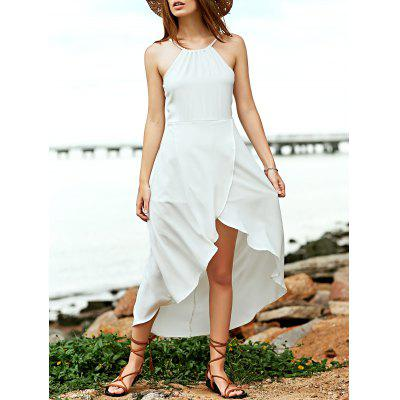 Stylish Cami Sleeveless Fitting White Asymmetric Women's Dress