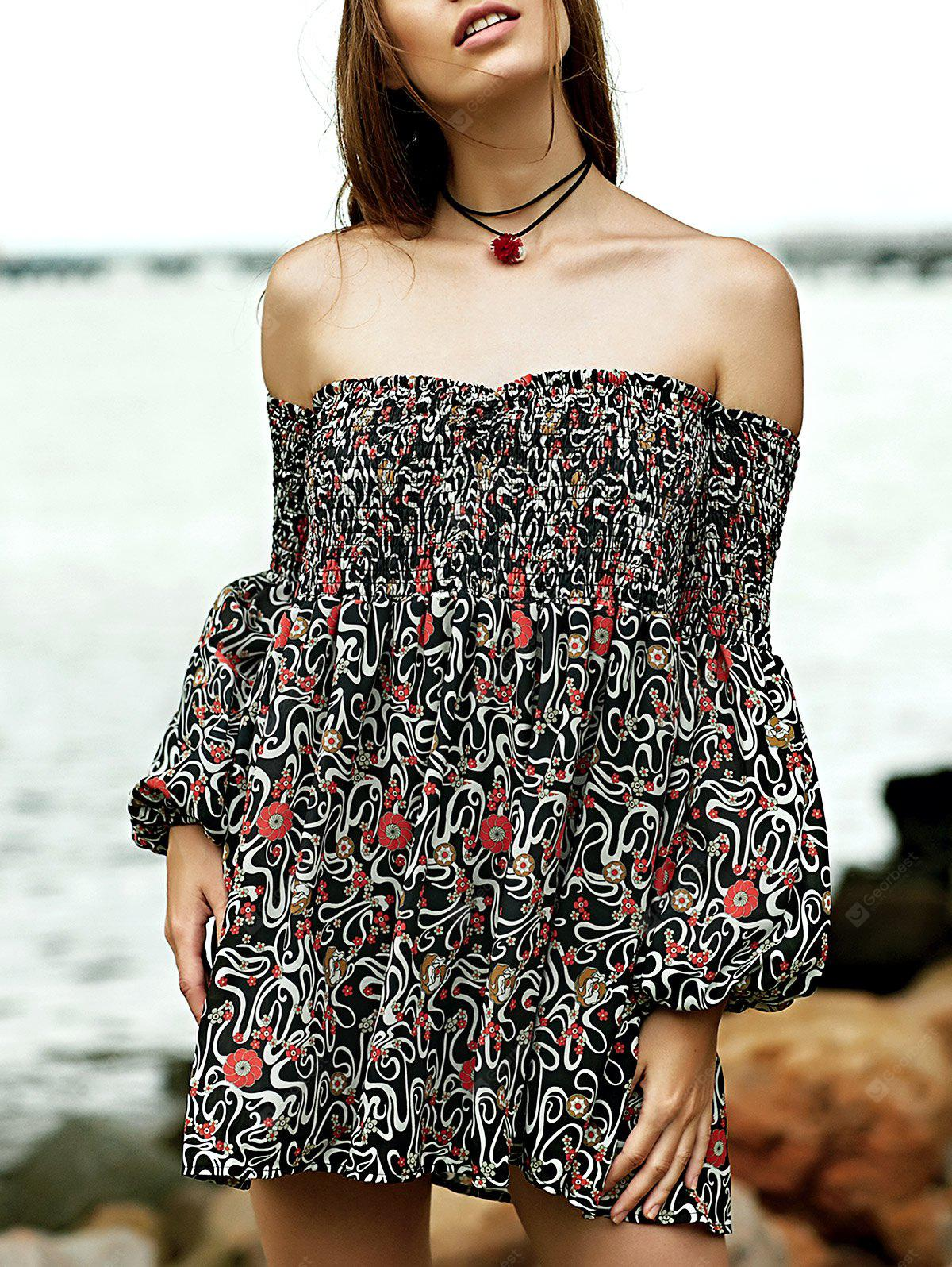 Off The Shoulder Smocked Floral Print Dress
