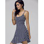 Stunning Spaghetti Strap Striped Women's Lace Up Dress - BLUE