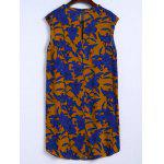 cheap Stylish Round Neck Retro Floral Print Sleeveless Dress For Women