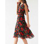 cheap Stylish V Neck Sleeveless Irregular Hem Flower Print Women's Dress