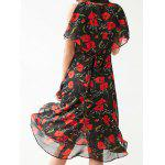 Stylish V Neck Sleeveless Irregular Hem Flower Print Women's Dress deal