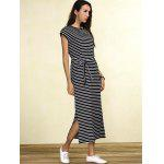 Slit Midi Striped Casual Dress deal
