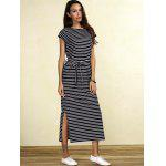 cheap Slit Midi Striped Casual Dress