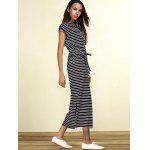 Slit Midi Striped Casual Dress for sale