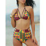 Ethnic Print High Waist African Print Bathing Suit - COLORMIX