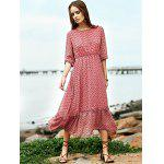 Buy Fashion Round Neck High Waisted Print Dress Women M RED