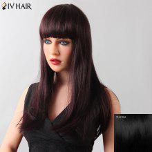Stylish Women's Natural Straight Full Bang Siv Hair Human Hair Wig