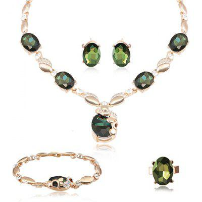 A Suit of Noble Faux Crystal Rhinestone Oval Necklace Ring Bracelet and Earrings For Women