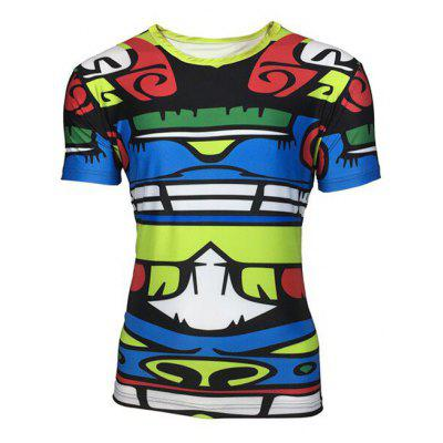Buy Round Neck 3D Totem Color Block Printed Short Sleeve T-Shirt For Men COLORMIX XL for $11.83 in GearBest store