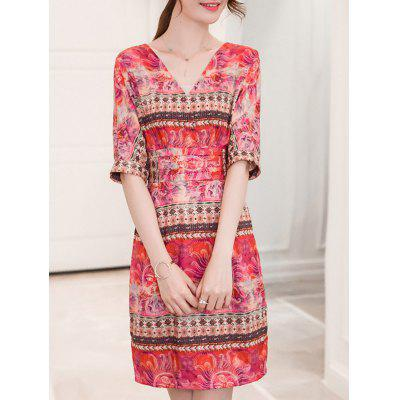 Fashionable V-Neck Ornate Printed Slimming Women's Dress