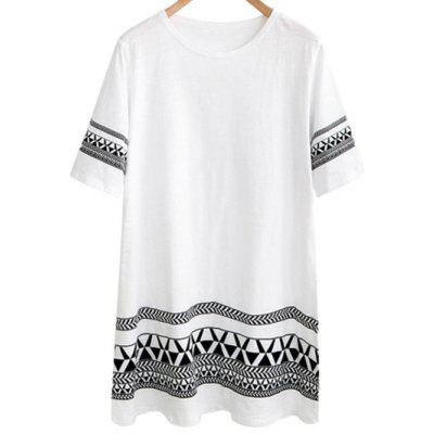 Stylish Round Neck Short Sleeve Loose Geometric Print Women's Dress
