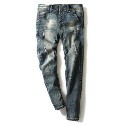 Modish Bleach Wash Hole Design Narrow Feet Men's Jeans