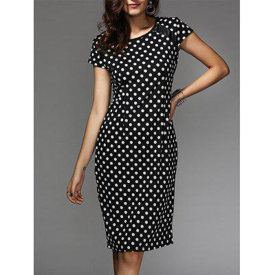 Chic Women's Polka Dot Jewel Neck Short Sleeve Dress