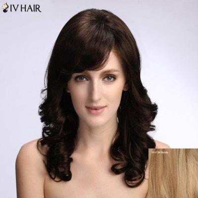 Stylish Women's Long Curly Siv Hair Human Hair Wig
