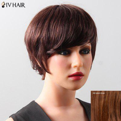 Women's Fluffy Neat Bang Short Siv Hair Human Hair Wig